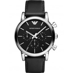 Emporio Armani Gents Stainless Steel Round Black Dial Black Leather Strap Watch AR1733