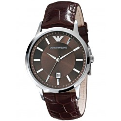 Emporio Armani Gents Stainless Steel Round Brown Dial Brown Strap Watch AR2413