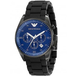 Emporio Armani Gents Blue Chronograph Dial Black Bracelet Watch AR5921