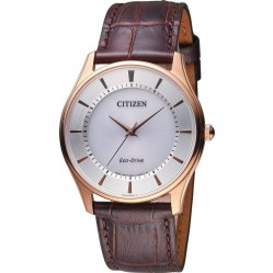Citizen Mens Eco Drive Brown Leather Watch BJ6483-01A