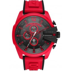 Diesel Mens Mega Chief Red Rubber Strap Chronograph Watch DZ4526