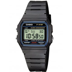 Casio Gents Black Rubber Strap Digital Watch F-91W-1XY