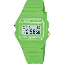 Casio Unisex Lime Green Strap Watch F-91WC-3AEF