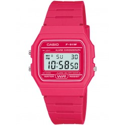 Casio Unisex CASIO Collection Digital Display Pink Rubber Strap Watch F-91WC-4AEF