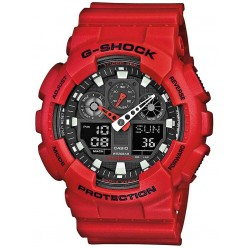 Casio Mens Red G-Shock Alarm Chronograph GA-100B-4AER