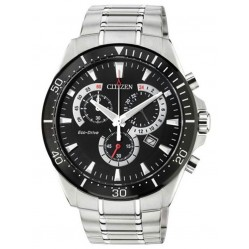 Citizen Mens Chandler Black Chronograph Dial Stainless Steel Bracelet Watch AT2358-51E