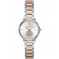 Michael Kors Ladies Portia Two Tone Stainless Steel Bracelet White Dial Watch MK4453