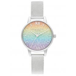 Olivia Burton Ladies Rainbow Silver Mesh Glitter Dial Watch OB16GD69