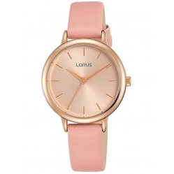 Lorus Ladies Rose Gold Dial Pink Leather Strap Watch RG240NX9