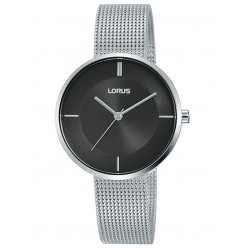 Lorus Ladies Stainless Steel Black Sunray Dial Mesh Strap Watch RG253QX9