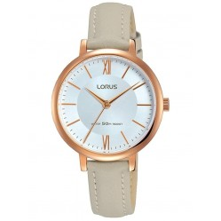 Lorus Ladies Soft Pale Grey Leather Strap Dress Watch RG264LX7