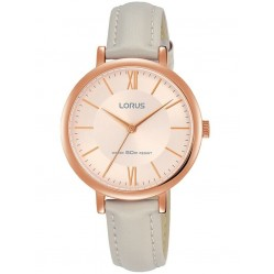 Lorus Ladies Rose Gold Dial Pale Grey Leather Strap Dress Watch RG264MX9