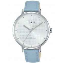 Lorus Ladies White Sunray Dial Blue Leather Strap Watch RG269PX9