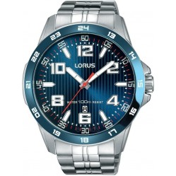 Lorus Mens Sports Blue Sunray Dial Stainless Steel Bracelet Watch RH901GX9