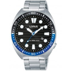 Lorus Mens Sports Black Dial Stainless Steel Bracelet Watch RH921LX9