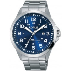Lorus Mens Sports Blue Dial Stainless Steel Bracelet Watch RH925GX9