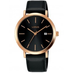 Lorus Mens Rose Gold Plated Black Date Dial Leather Strap Watch RH934JX9