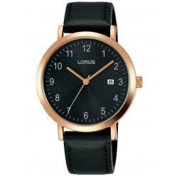 Lorus Mens Rose Gold Plated Black Date Dial Leather Strap Watch RH938JX9