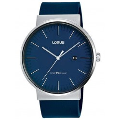 Lorus Mens Blue Date Dial Leather Strap Watch RH985KX9