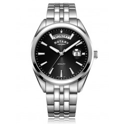 Rotary Mens Henley Stainless Steel Black Dial Bracelet Watch GB05290/04