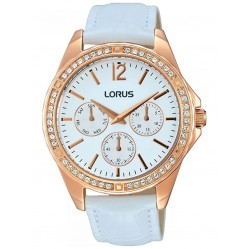 Lorus Ladies Blue Crystal Set Dial White Leather Strap Dress Watch RP640CX9