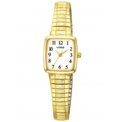 Lorus Ladies Gold Plated Rectangular Dial Expandable Bracelet Watch RPH56AX9