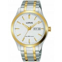Lorus Mens White Day Date Dial Two Tone Bracelet Watch RXN60DX9