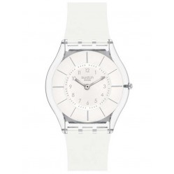 Swatch Ladies White Classiness Strap Watch SFK360