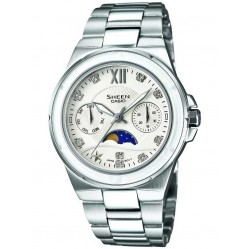 Casio Sheen Classic Swarovski Crystal Silver Bracelet Watch SHE-3500D-7AER