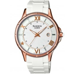 Casio Sheen Classic Swarovski Crystal Rose Gold Plated Bracelet Watch SHE-4024G-7AEF