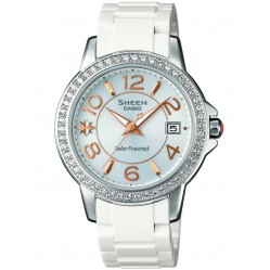 Casio Sheen Classic Solar Swarovski Crystal White Bracelet Watch SHE-4026SB-7ADR