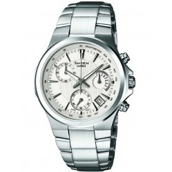 Casio Sheen Chronograph Round White Dial with Date Watch SHE-5019D-7AEF