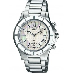 Casio Sheen Rose Gold Plated Bezel Chronograph White Dial Watch SHE-5512SG-7ADF