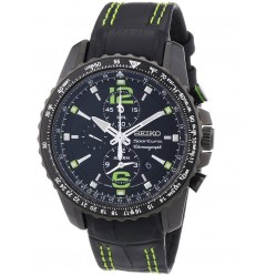 Seiko Mens Sportura Chronograph Black Strap Watch SNAE97P1