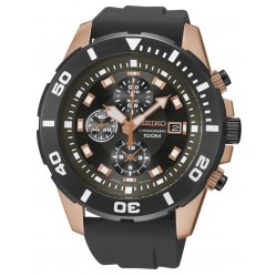 Seiko Mens Rose Gold Plated Black Rubber Strap Watch SNDE04P1