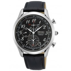 Seiko Mens Black Strap Black Chronograph Silver Watch SPC255P1