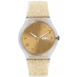 Swatch Ladies Golden Sparkle Watch SUOK704