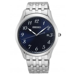Seiko Mens Black Bracelet Navy Dial Watch SUR301P1