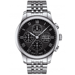 Tissot Mens Le Locle Stainless Steel Bracelet Black Chronograph Rn Watch T006.414.11.053.00