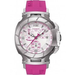 Tissot Unisex T-Race Pink Rubber Strap Watch T048.217.17.017.01
