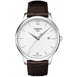 Tissot Mens Classic Brown Strap White and Silver Dial Watch T063.610.16.037.00