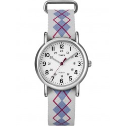 Timex Ladies White Leather Strap Watch T2N918