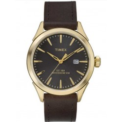 Timex Mens Elevated Classic Brown Leather Strap Watch TW2P77500