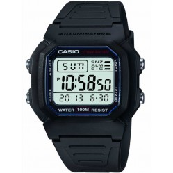 Casio Mens Black Rubber Strap Watch W-800H-1AVES