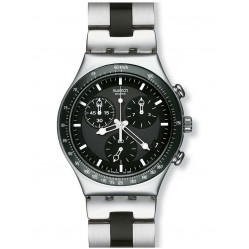 Swatch Two Colour Black Dial Chronograph Watch YCS410GX