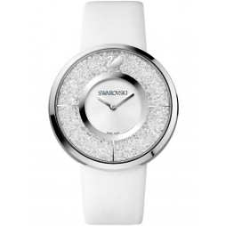 Swarovski Crystalline Silver Tone White Leather Strap Watch 1135989