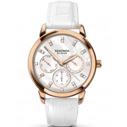 Sekonda Ladies Rose Gold Plated White Strap Watch 2285