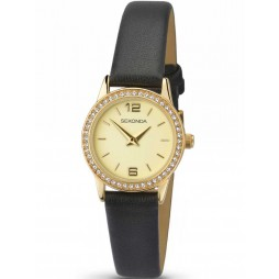 Sekonda Ladies Stone Set Black Strap Watch 2286
