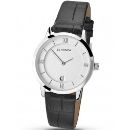 Sekonda Ladies Black Leather Strap Watch 2289