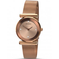 Sekonda Ladies Rose Gold Plated Mesh Strap Watch 2301